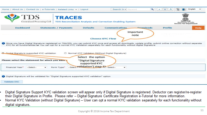 KYC for form 16-A of TDS