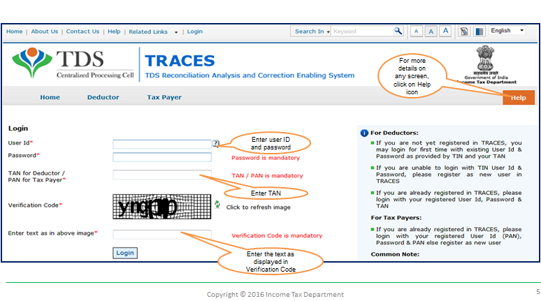 TRACES login portal for TDS