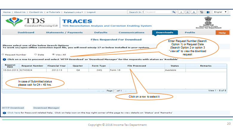 requesting download for form 16-A of TDS