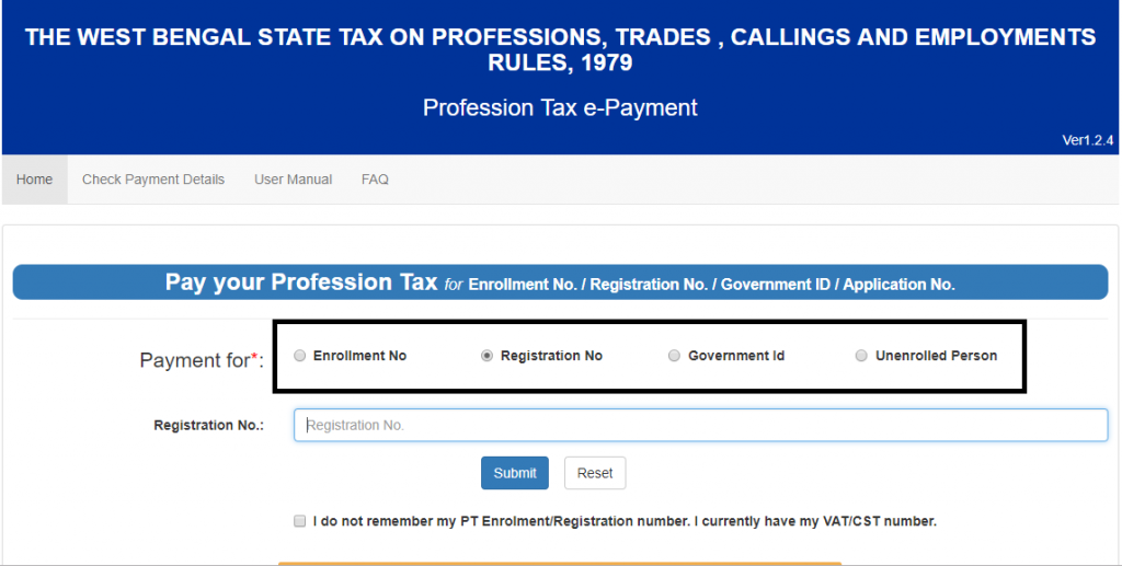 Payment for tax in West Bengal